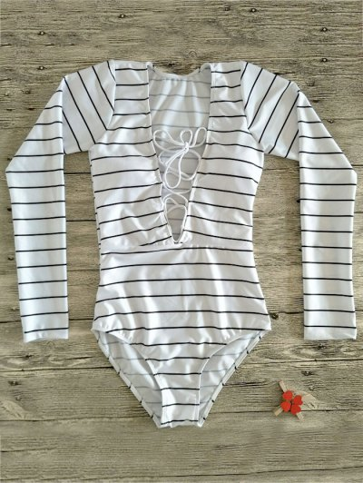 Striped Long Sleeve Lace Up Swimwear - WHITE S Mobile