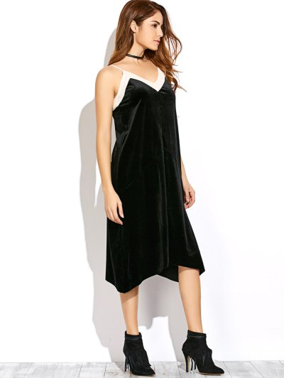Mesh Trim Velvet Cami Dress - BLACK M Mobile