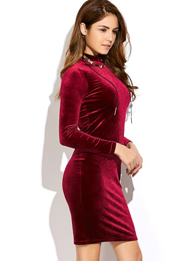 Mock Neck Velvet Mini Bodycon Dress - WINE RED ONE SIZE Mobile