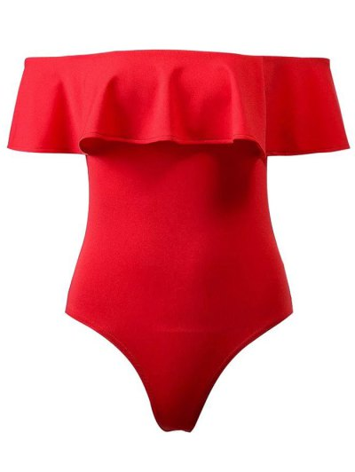Ruffles Off The Shoulder Bodysuit - RED M Mobile
