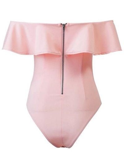 Ruffles Off The Shoulder Bodysuit - PINK M Mobile