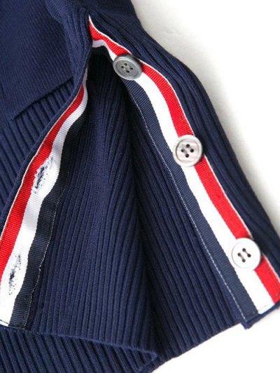 V Neck Striped Sleeve Cardigan - GRAY S Mobile