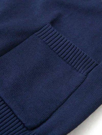 V Neck Striped Sleeve Cardigan - CADETBLUE M Mobile