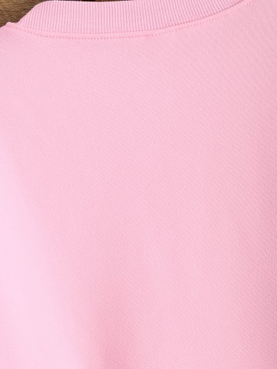 Letter Pattern Jewel Neck Sweatshirt - PINK XL Mobile
