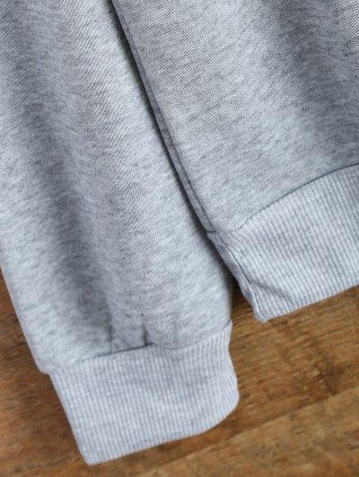Letter Pattern Jewel Neck Sweatshirt - GRAY S Mobile