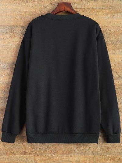 Letter Pattern Jewel Neck Sweatshirt - BLACK XL Mobile