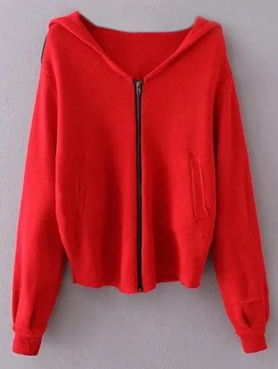 Zippered Hooded Cardigan - RED ONE SIZE Mobile