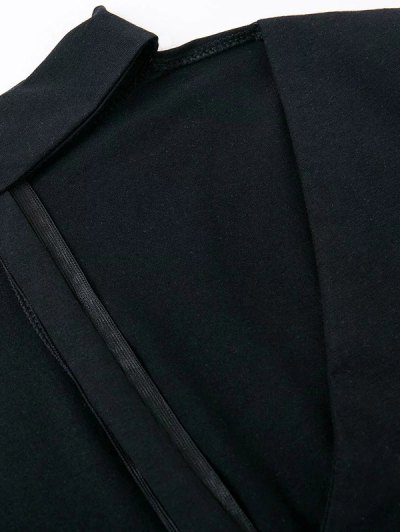 Cut Out Long Sleeve Choker Bodysuit - BLACK L Mobile