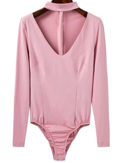 Cut Out Long Sleeve Choker Bodysuit - PINK M Mobile