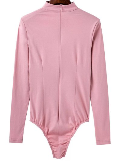 Cut Out Long Sleeve Choker Bodysuit - PINK S Mobile