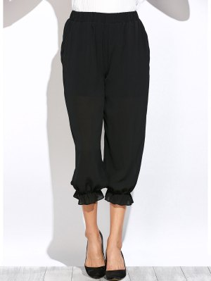 See Through Lantern Pants - Black