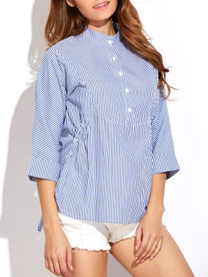 Striped Buttoned Oversized Blouse - Blue And White