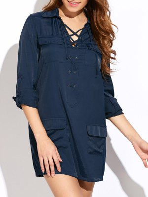 Loose Pockets Lace-Up Dress - Blue