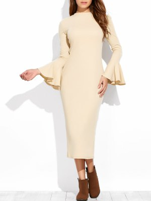 Bell Sleeve Midi Pencil Dress - Apricot