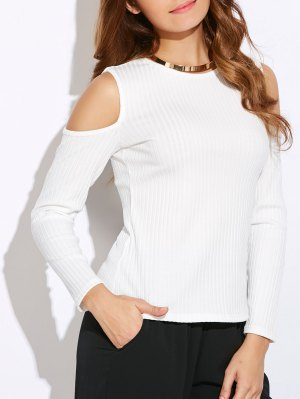 Ribbed Cold Shoulder Knitwear - White