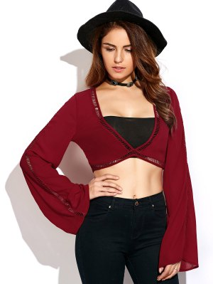 Ladder Crochet Flare Sleeve Crop Top - Red