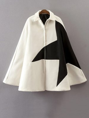 Cashmere Pentagram Print Cape Coat - White