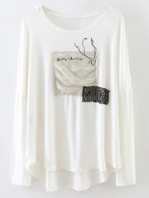 Long Sleeve Patched Tee - White