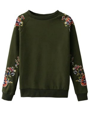 Floral Embroidered Raglan Sweatshirt - Green