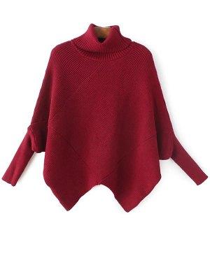 Hanky Hem Turtleneck Batwing Sweater - Burgundy