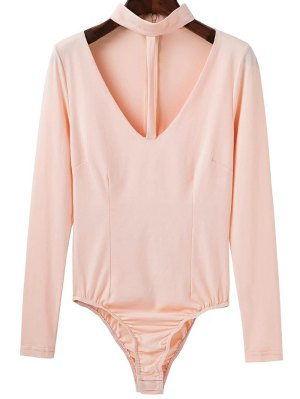 Cut Out Long Sleeve Choker Bodysuit - Apricot