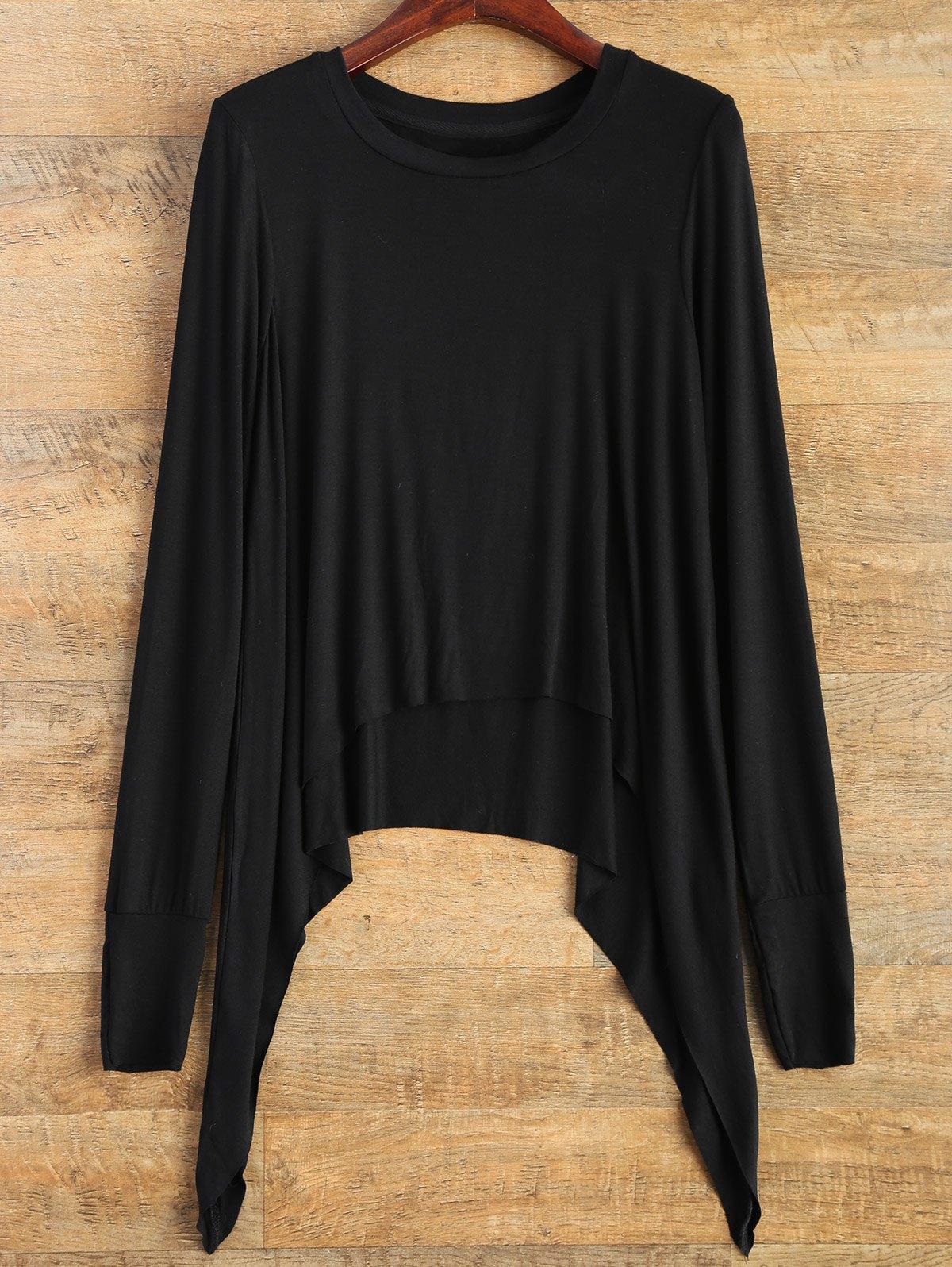 Long Sleeve Pointed Hem T-Shirt