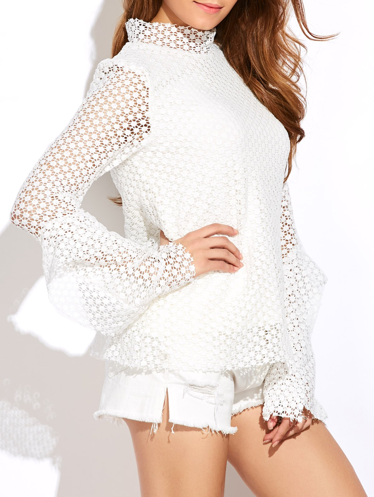 Stand Neck Bell Sleeve Hollow Out Blouse