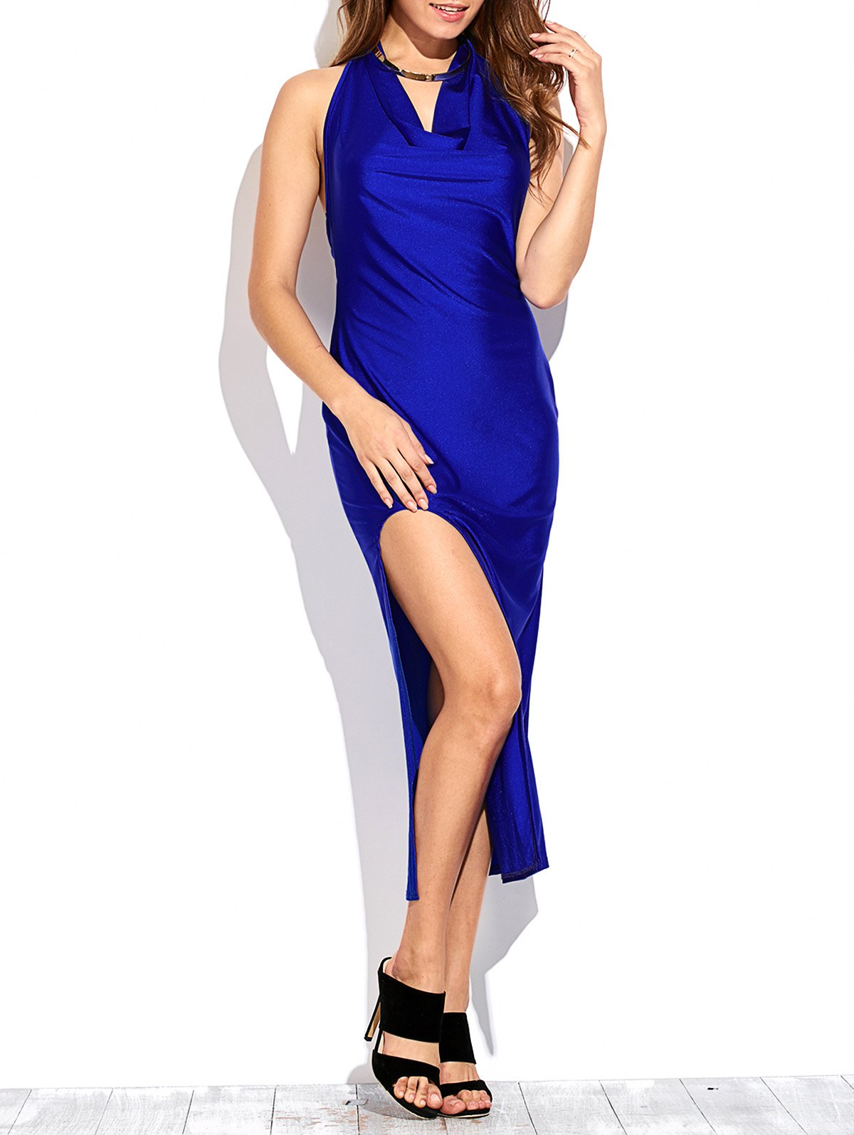 Draped Front Thigh Split Prom Dress