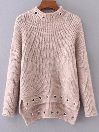 Mock Neck Ring Embellished Ribbed Sweater
