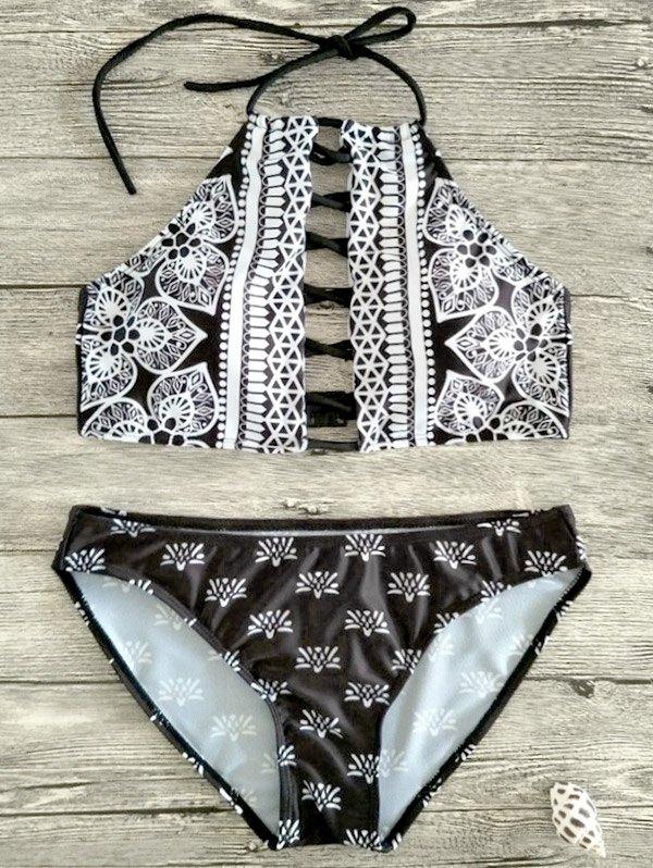 Halter Lace Up Patterned Bikini Set