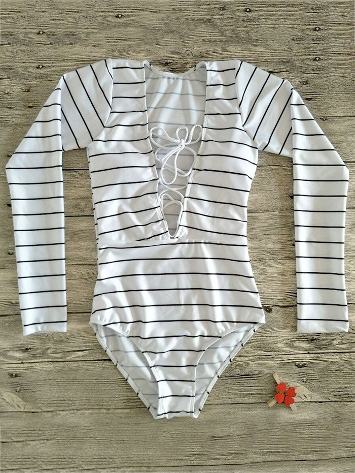Long Sleeve Plunge Neck Lace Up Swimwear