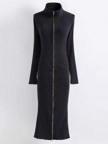 Zippered Knitted Bodycon Dress - BLACK M