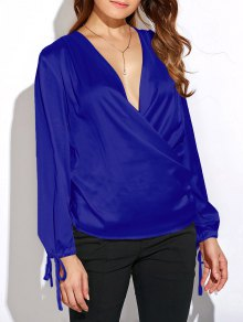 Crossover Long Sleeve Chiffon Top