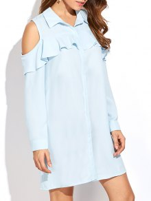 Cold Shoulder Ruffled Shirt Dress - Light Blue Xl