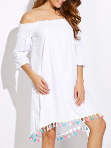 Off Shoulder Tassel Smock Dress