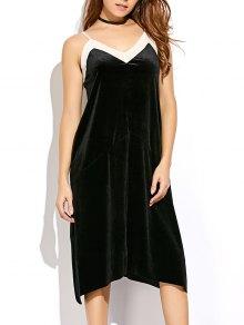 Mesh Trim Velvet Cami Dress
