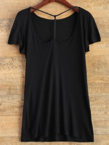 Buy Strap Front Basic Tee S BLACK