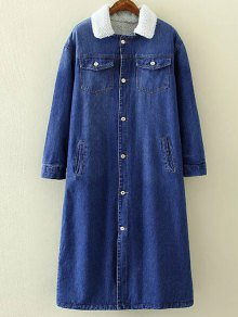 Borg Lined Maxi Sherpa Denim Coat