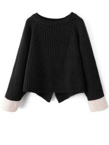 Contrast Cuffs Chunky Sweater - Black