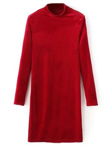 Mock Neck Long Sleeves Velvet Dress