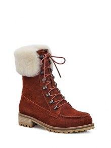 Buy Tie Metal Faux Fur Short Boots 39 DARK AUBURN