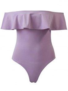 Ruffles Off The Shoulder Bodysuit - Purple M