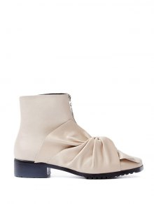 Buy Bow Pointed Toe Zipper Ankle Boots 37 APRICOT