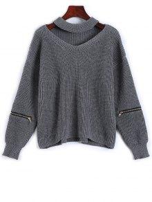 Cut Out Chunky Choker Sweater - Gray