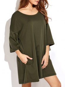 Dropped Shoulder Relaxed Tunic Dress - Army Green