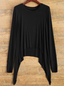 Gloved Sleeve Uneven Hem T-Shirt - Black S