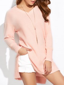 Side Slit Long Hoodie - Pink Xl