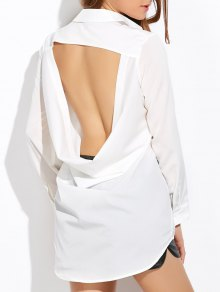 High Low Cut Out Shirt - White Xl