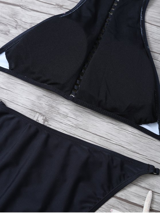 Floral Print Ladder Trim High Neck Bikini - BLACK L Mobile