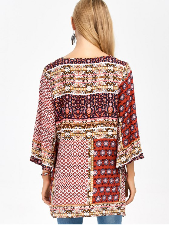 Retro Print High Low Tee - COLORMIX M Mobile